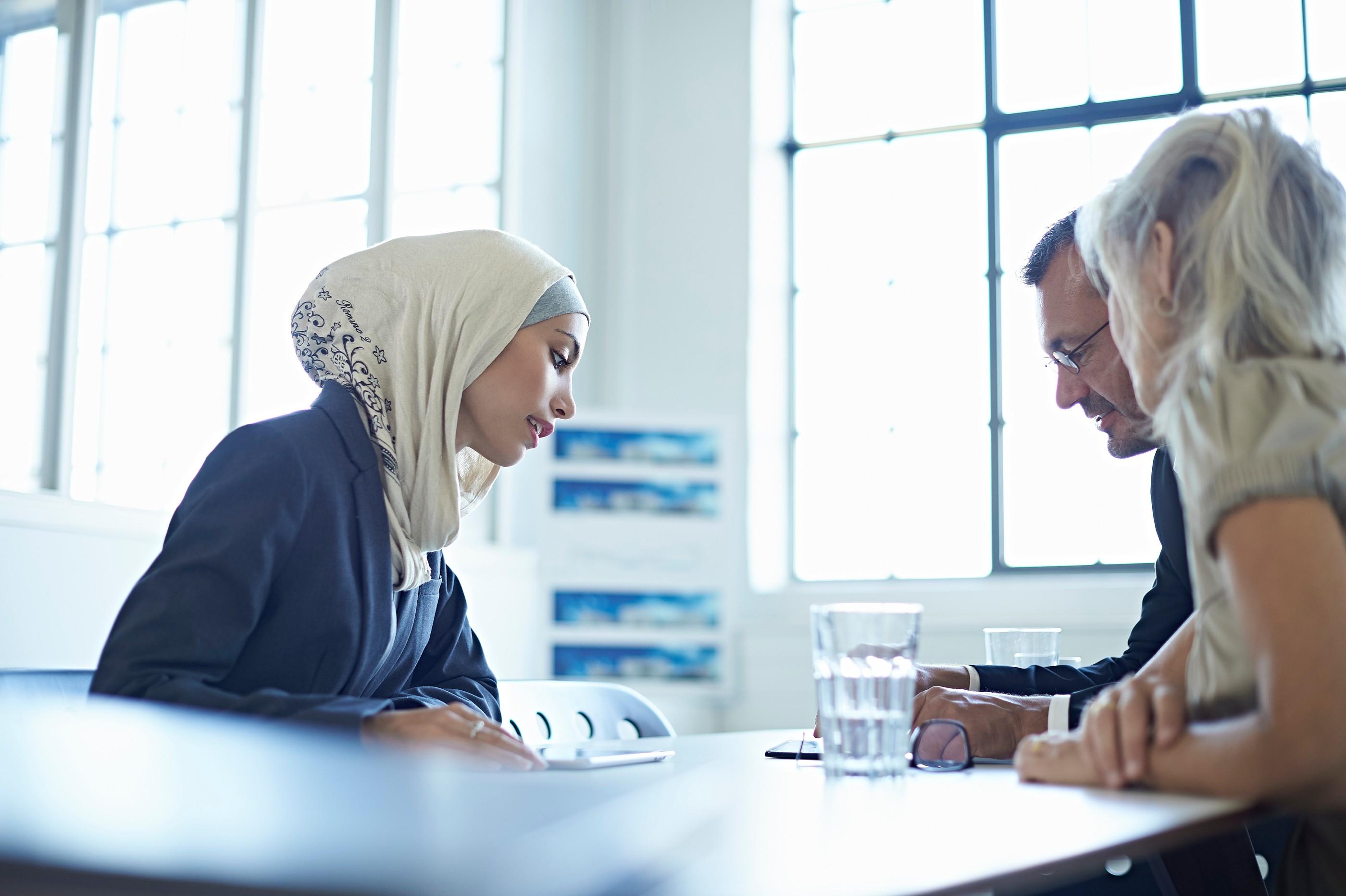 Foreign women with interpreter