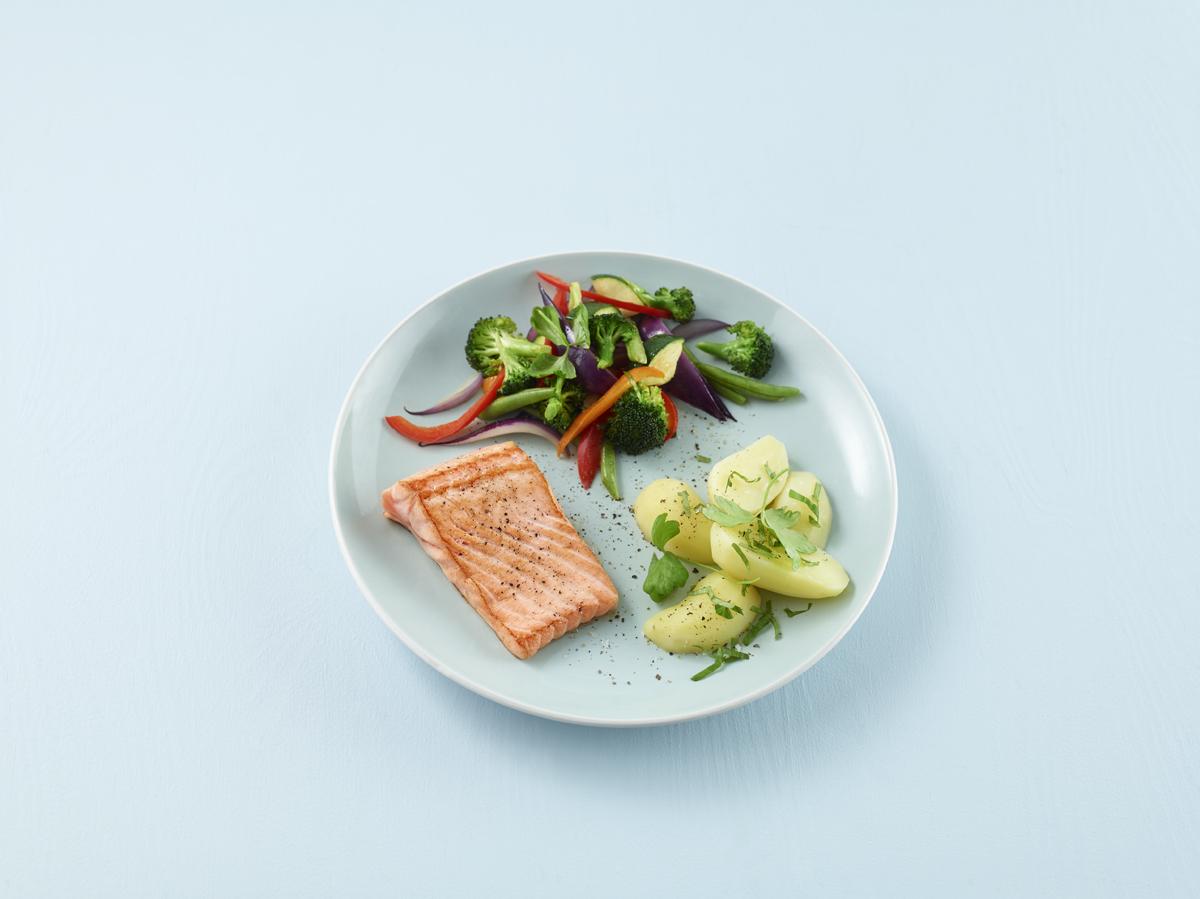Laks og poteter, Slik kan maten være fordelt på tallerkenen din