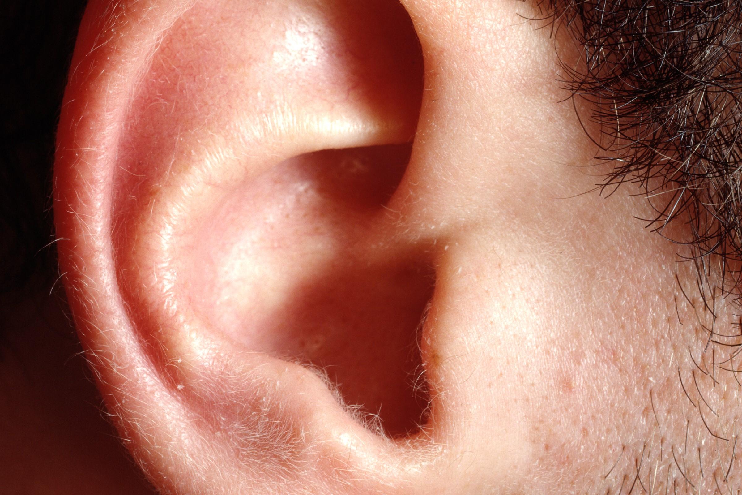 Nærbilde av øret til en mann