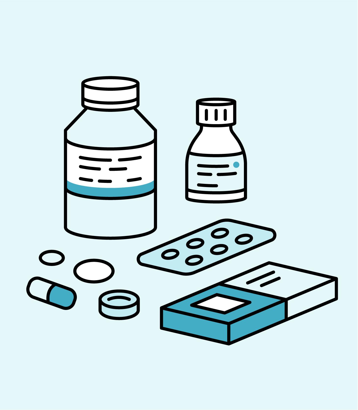 Illustrasjon av piller og tabletter.