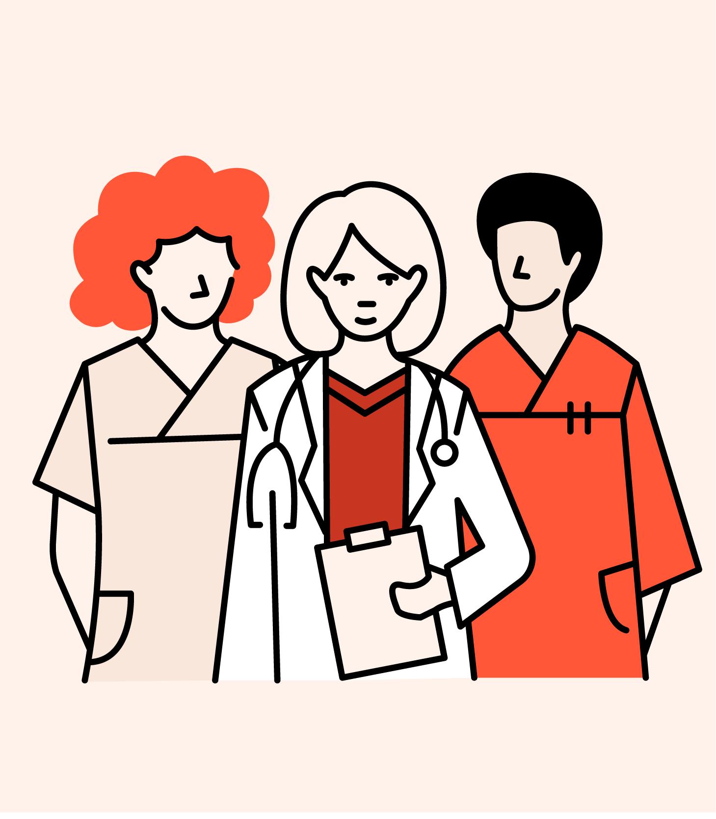 Illustrasjonstegning av helsekontakter