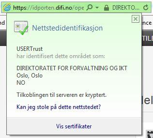 Skjermdump sertifikat idport