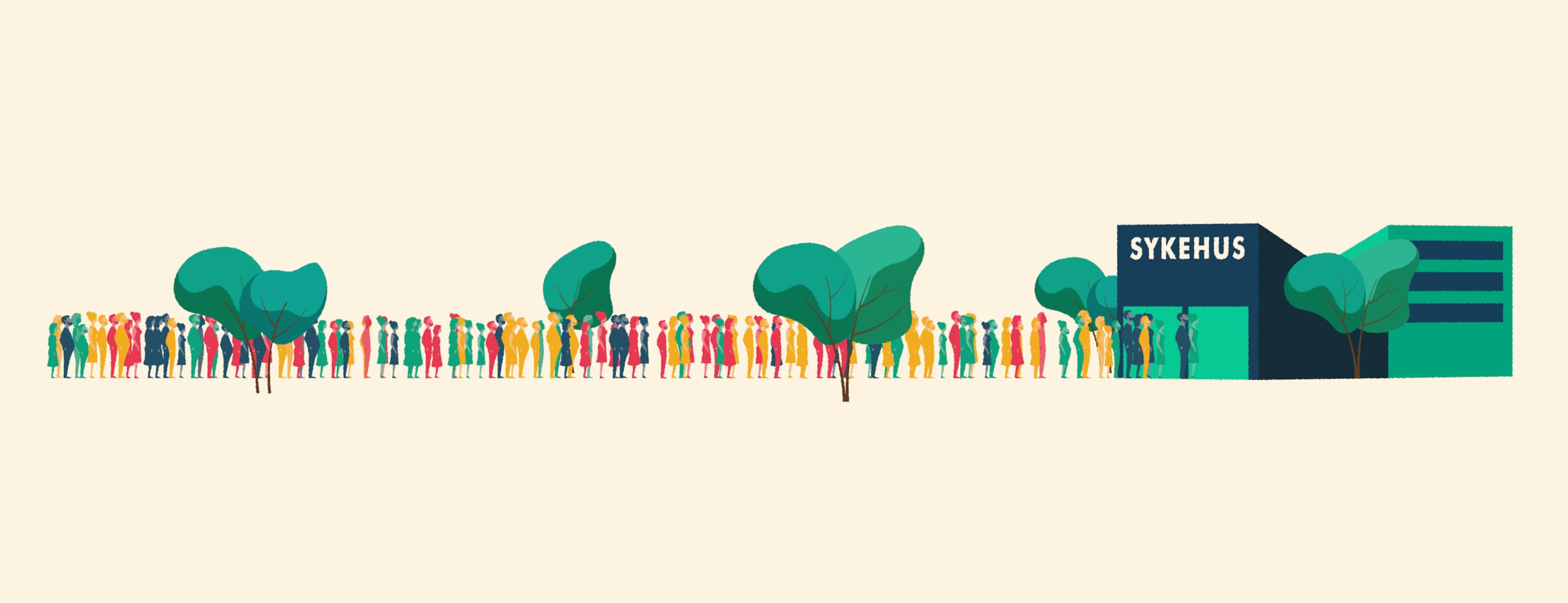 Illustrasjon av folk i helsekø