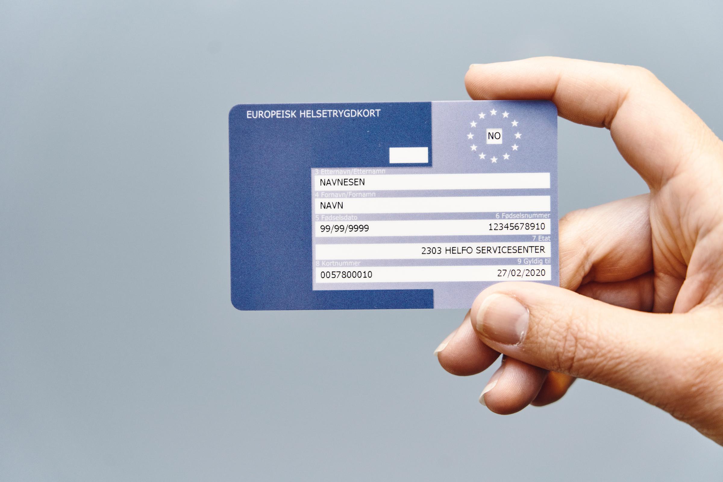Bilde av et Europeisk helsetrygdkort