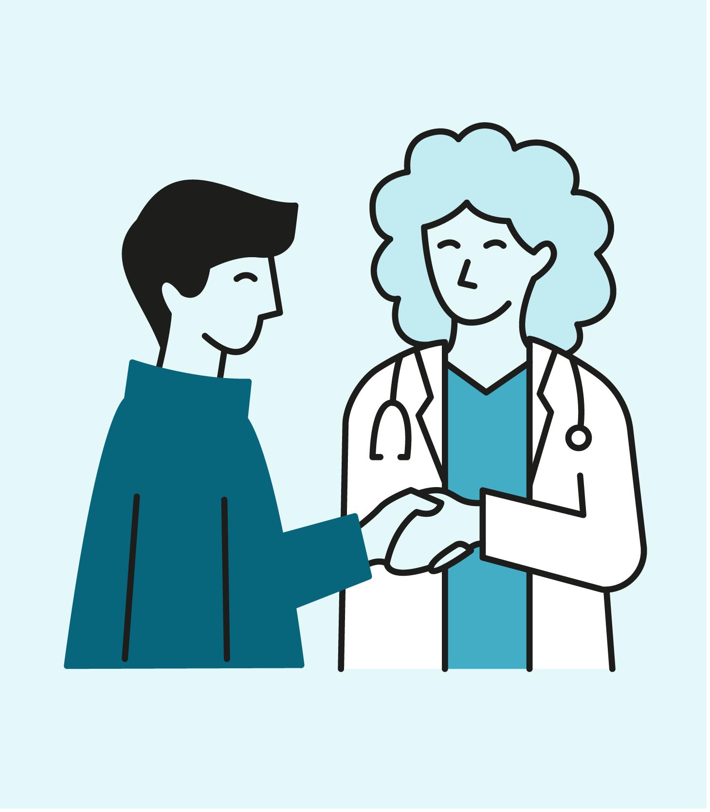 Illustrasjonstegning av lege og pasient